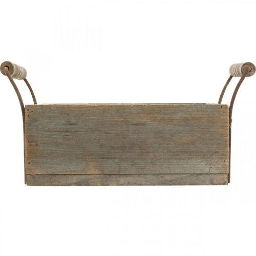 Pflanzgefäß, Dekokiste, Holzkasten mit Griffen, Bastelkiste Shabby Chic L25cm H10cm