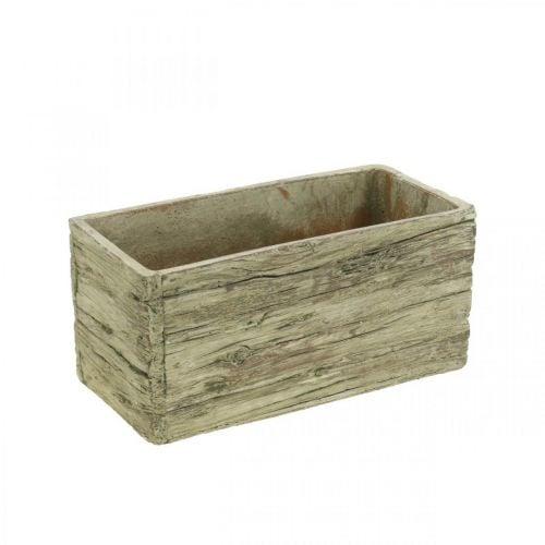Pflanzkasten Keramik rechteckig Holz Look Braun 23×10,5cm H11cm