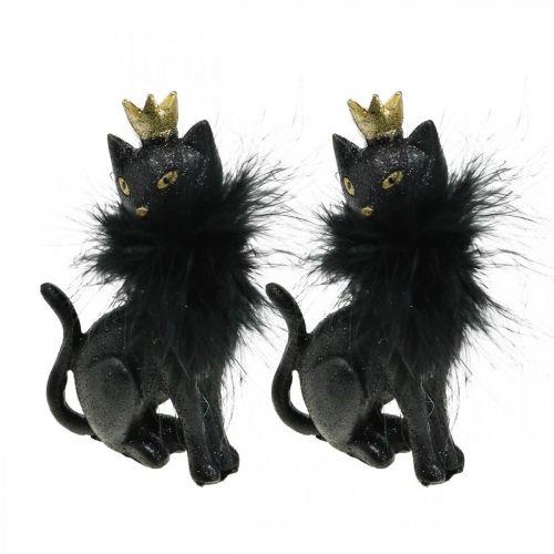 Dekofigur Katze Polyresin mit Krone Schwarz Gold H12,5cm 2St
