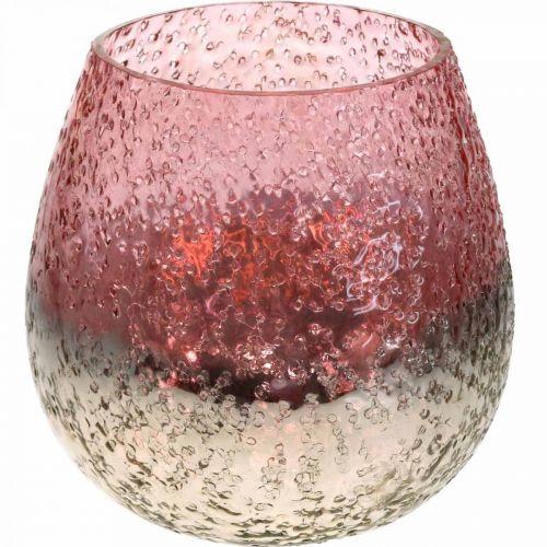 Glaswindlicht, Teelichthalter, Tischdeko, Kerzenglas Rosa/Silbern Ø15cm H15cm