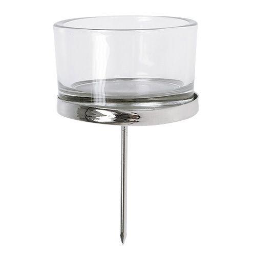 Kerzenhalter mit Glas Silber 4St