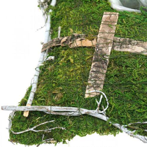 Kissen Moos und Reben mit Kreuz für Grabgesteck 25x25cm
