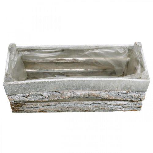 Pflanzkasten, Übertopf mit Rinde, Holzdeko, Shabby Chic Weiß gewaschen L35,5cm H15cm