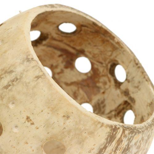 Kokosnuss Schale poliert mit Löchern Natur Ø9,5cm – Ø13cm 1St