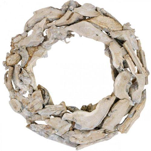 Holzkranz Wurzeln und Äste Weiß gewaschen Dekokranz Ø40cm H9cm