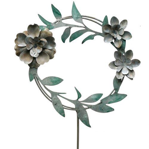 Gartenstecker Blütenkranz Metall H63cm