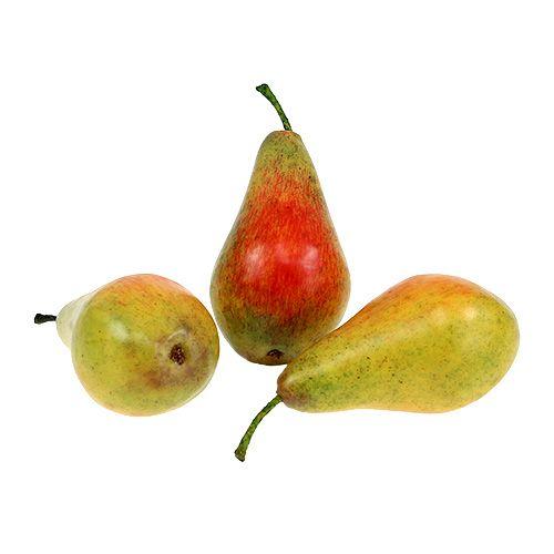 Kunstobst Birnen 10cm rot-grün 6St