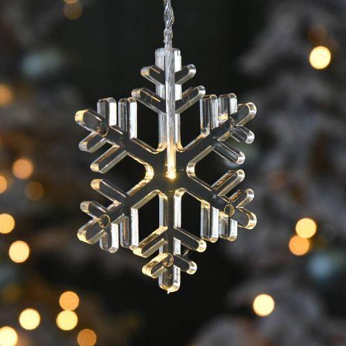 LED Fensterdeko Weihnachten Schneeflocken Warmweiß Für Batterie 105cm