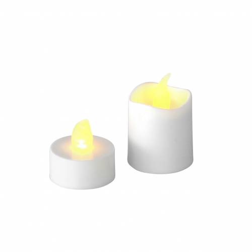 LED Teelicht Kerzen Warmweiß Flammeneffekt 16er-Set sortiert 32Batterien