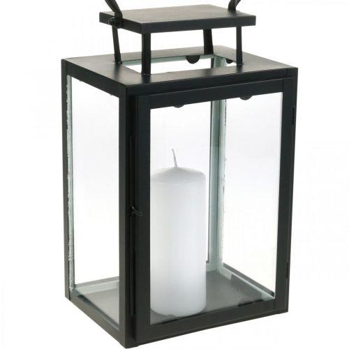 Deko Laterne Schwarz Metall, Glas rechteckig Windlicht 19x15x30,5cm