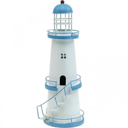 Leuchtturm Hellblau Metalldeko Maritime Dekoration