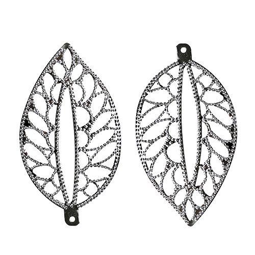 2 er Set Metall Blätter zum Hängen mit Öse silber 7 cm Streudeko Tischdeko Blatt