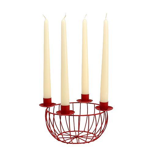 Metallschale mit 4 Kerzenhaltern Rot Ø22cm