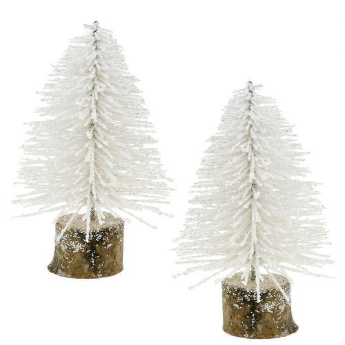 österreich Weihnachtsbaum.Mini Weihnachtsbaum Weiß Beglitzert 6st