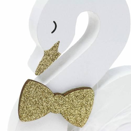 Deko-Schwäne Hochzeit Holz Weiß Gold 12x13cm 2St