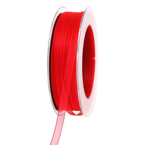 Organzaband mit Webkante Rot 7mm 50m