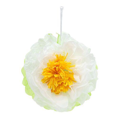 Papierblume Ø28cm zum Hängen Grün-Weiß