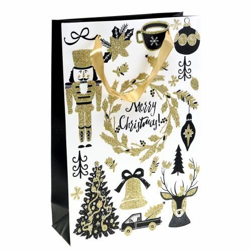 "Geschenktüte Papiertasche ""Merry Christmas"" Gold Glitzer H30cm 2St"