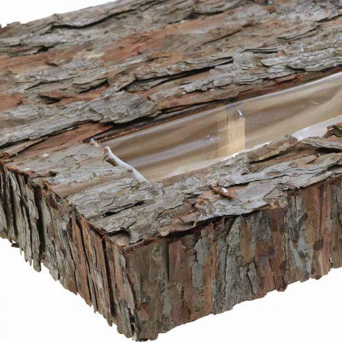 Deko Untersetzer mit Pflanztrog Pinienrinde 45×30cm H6cm