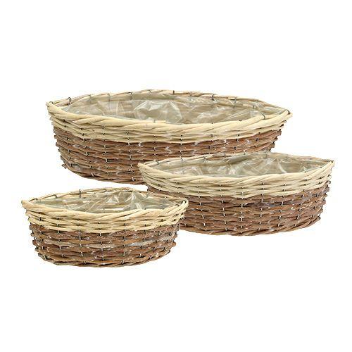 Pflanzkörbe aus Weide und Holz oval 3er-Set