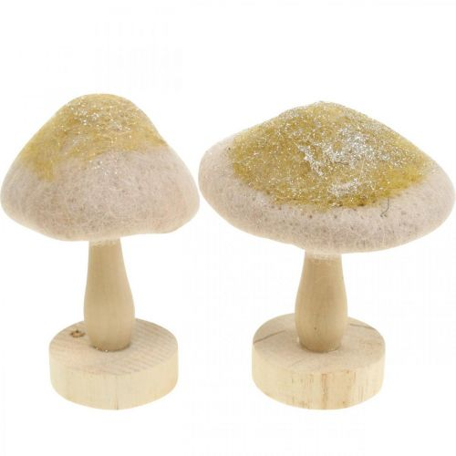 Deko Pilz Holz, Filz mit Glitter Tischdeko Advent H11cm