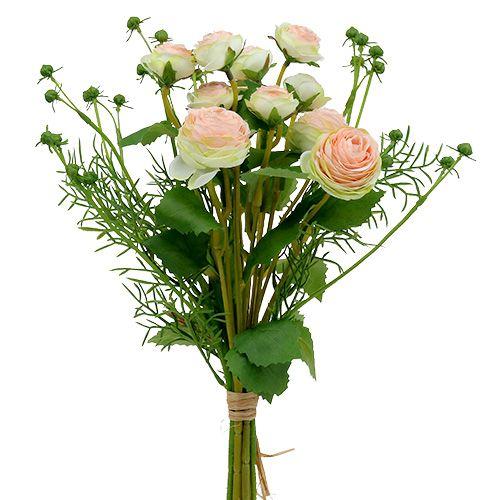 künstliche Ranunkel Strauß 20 cm gelb weiß Blumen Blume Kunstblumen Kunstblume
