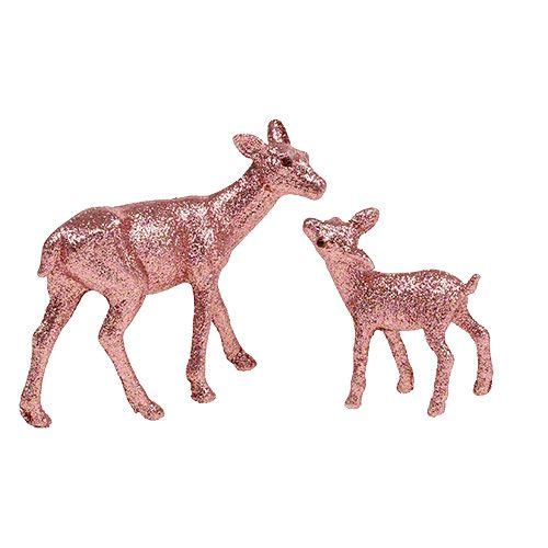 Reh mit Kitz 10cm Rosa mit Glimmer