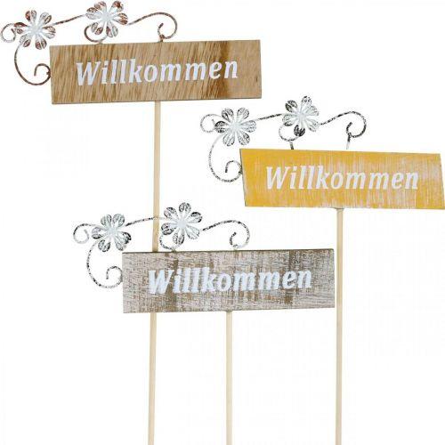 Rustikales Willkommensschild, Blumenstecker, Holzschild mit floraler Deko, Pflanzendeko 6St