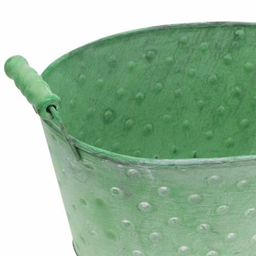 Deko-Schale Pflanzgefäß Metall Grün oval 25,5x18,5cm H13cm