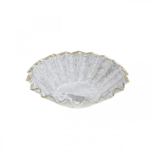 Deko-Backform aus Metall, Metalldeko zum Bepflanzen, Kuchenförmchen mit Goldrand Ø13cm H3,5cm