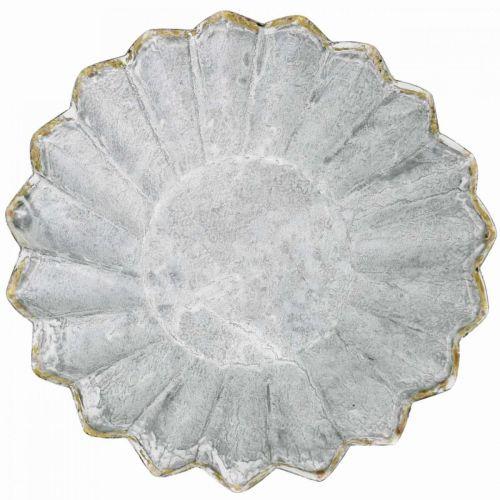 Kuchenform zum Bepflanzen, Metalldeko, Backförmchen mit Golddekor Ø16,5cm H4,5cm