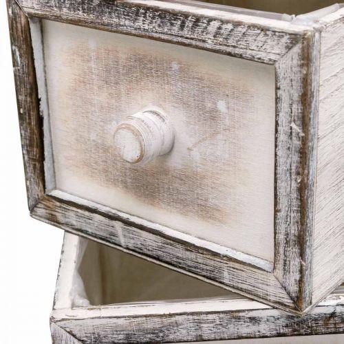 Pflanzgefäß Holzschublade Antik Look Creme 24/20/16/12cm 4er-Set