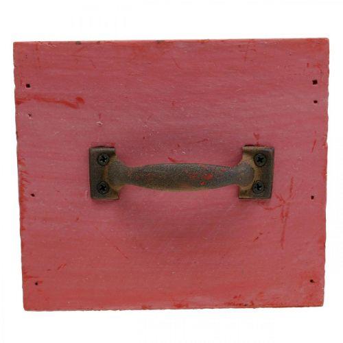 Deko Schublade Shabby Chic Holz Pflanzgefäß Rot 12,5×12,5×11cm