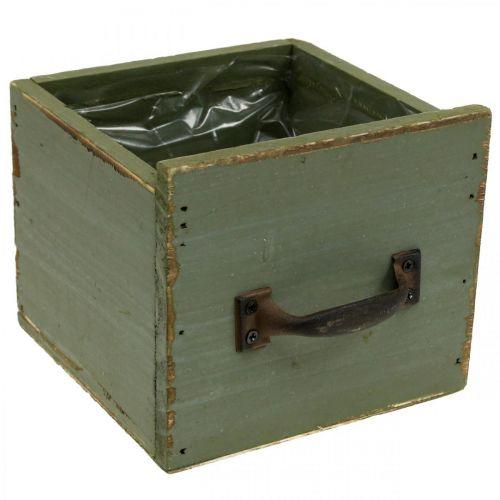 Pflanzgefäß Schublade Holz Shabby Tischdeko Grün 12,5×12,5×11cm