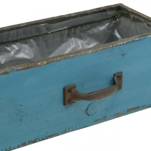 Pflanzkasten Schublade Holz Shabby Chic Blau 25x13x9cm