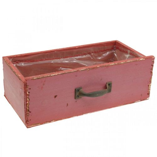Pflanzgefäß Holz-Schublade Shabby Chic Rot 25x13x9cm