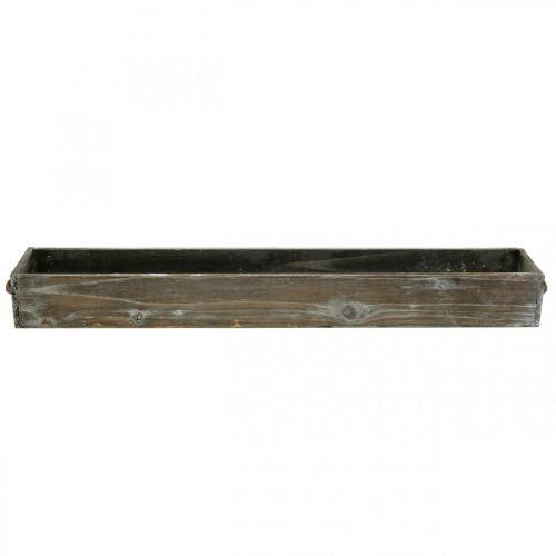 Pflanz-Schublade Holz Dekotablett Weiß gewaschen 65×11×7cm