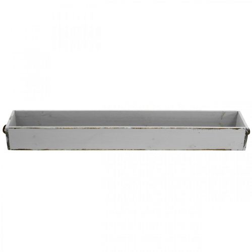 Dekotablett Holz Pflanz-Schublade Shabby Chic Grau 65×11×7cm