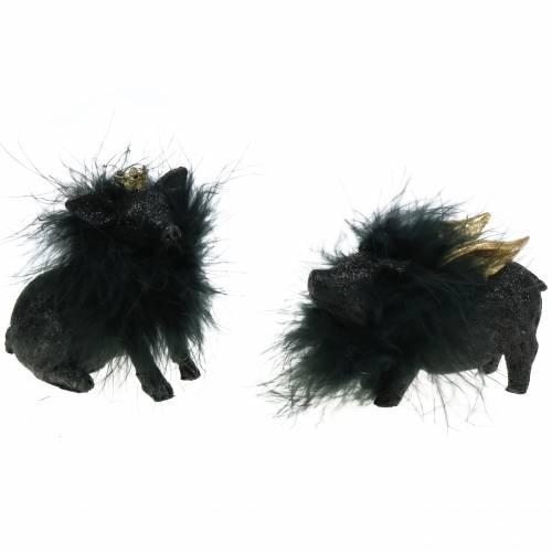 Dekofigur Schwein Glücksbringer Schwarz 9cm 2St