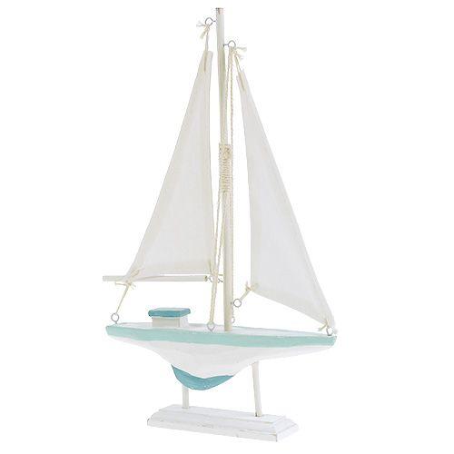 Segelboot Weiß-Blau 30cm