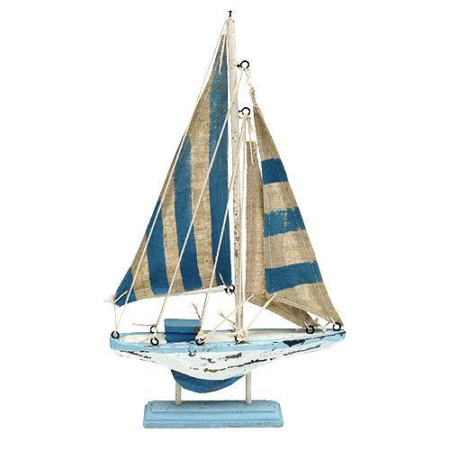 Segelboot aus Holz Blau-Weiß H30cm