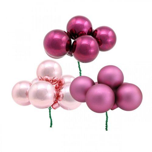 Mini Weihnachtskugel Rosa Glas Spiegelbeeren Berry Ø20mm 140St