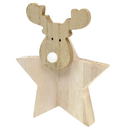 Charmant Rentier Weihnachtsdeko Holz 14cm X 17cm