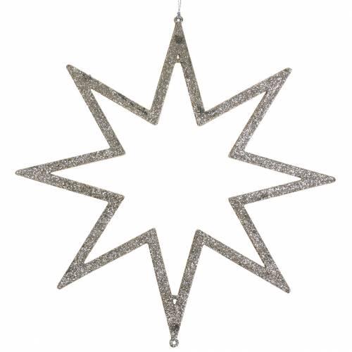 15cm Weihnachten Anhänger Fenster-Deko Baumschmuck Stern Sisal silber 6 Stück !