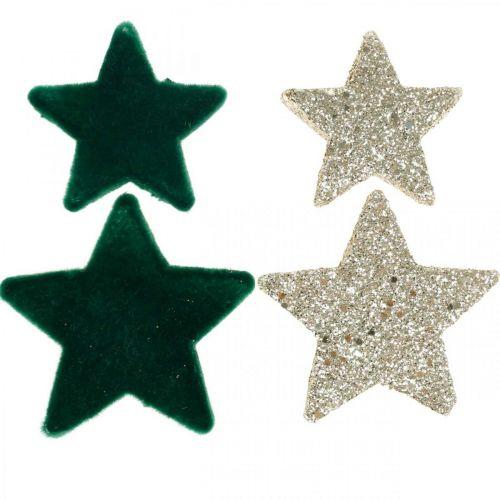 Stern Streudeko Mix Grün und Gold Weihnachten 4cm/5cm 40St