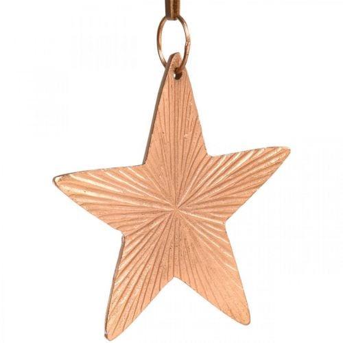 Stern-Anhänger, Weihnachtsdeko, Metalldeko Kupferfarben 9,5×9,5cm 3St