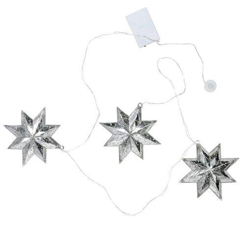 Sternenkette Acryl Silber 150cm x3 mit LED für Batterien
