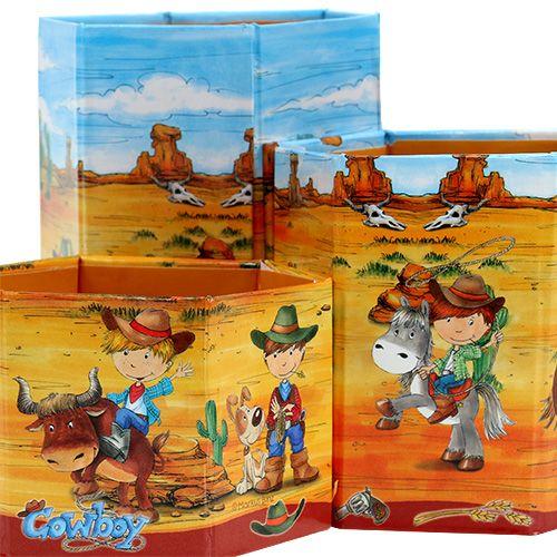 Stiftehalter Set mit Cowboy-Motiv H 6-12cm