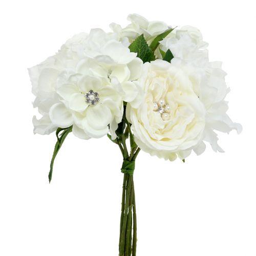 Deko-Strauß Weiß mit Perlen und Strasssteinen 29cm
