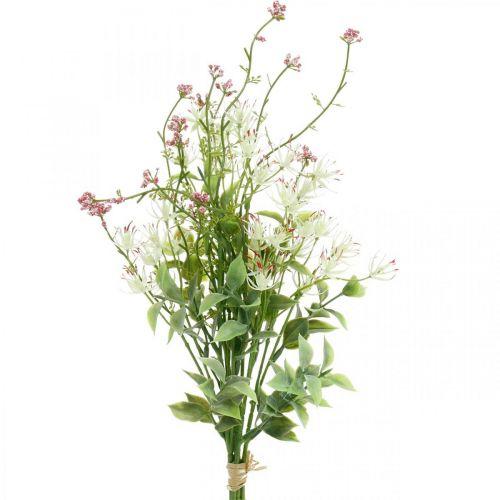Frühlingsstrauß künstlich Pink, Weiß, Grün Kunstblumenstrauß H43cm